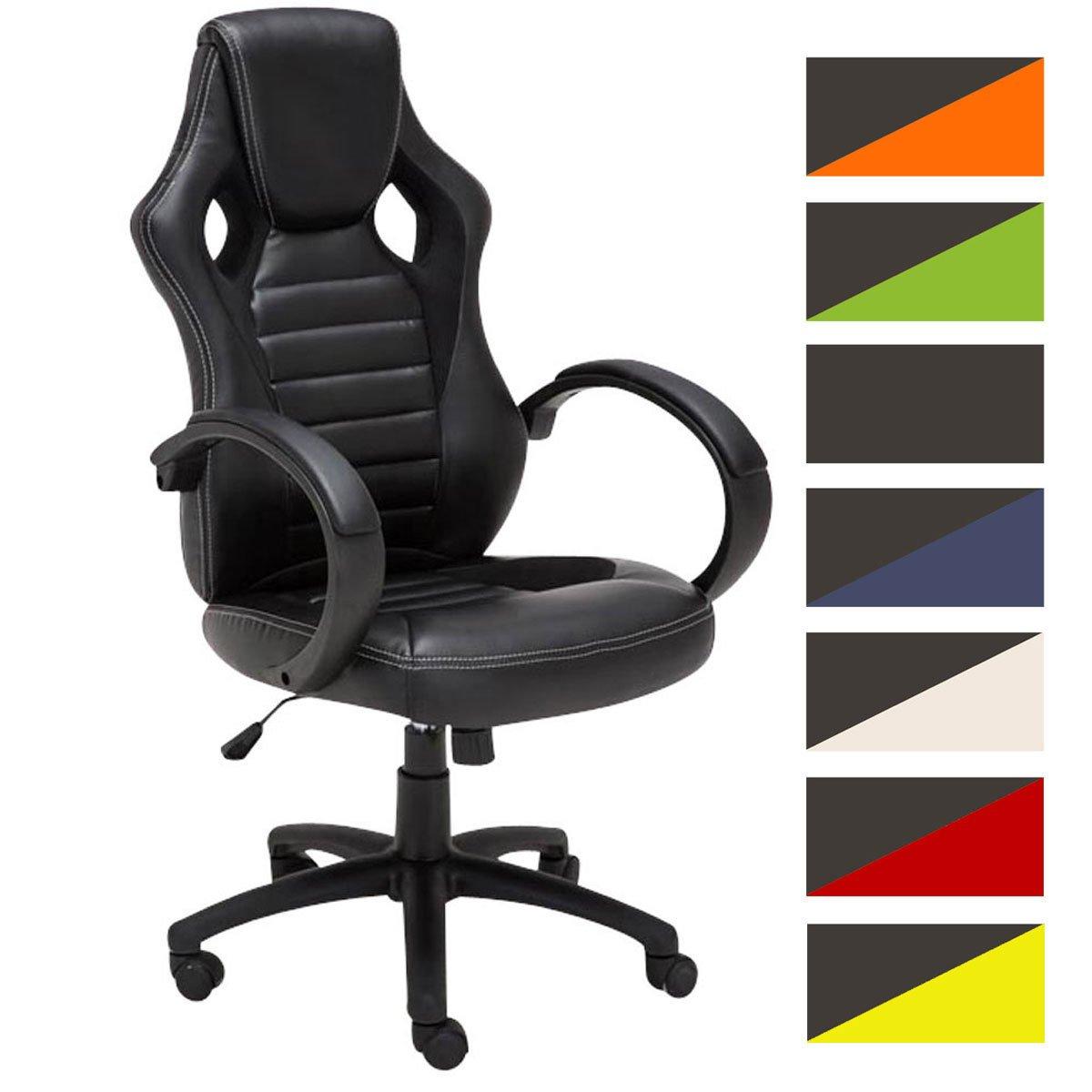 Silla Racing Speed en Cuero Sintético I Silla Gaming Regulable en Altura I Silla de Oficina con Ruedas I Color:, Color:Negro
