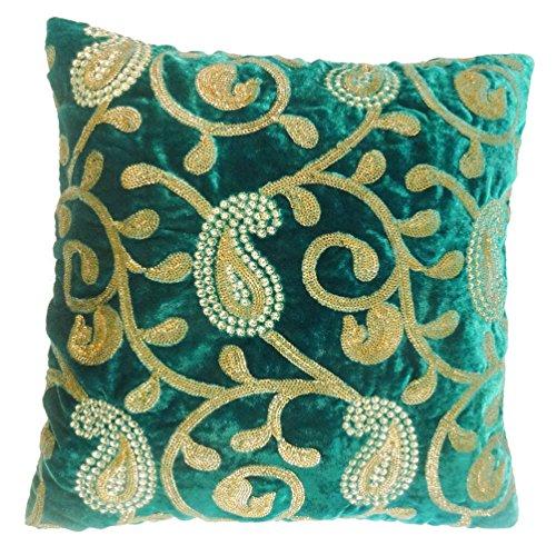 Federa Paisley ricamato indiano Home Decor verde cuscino in velluto di 40,6cm