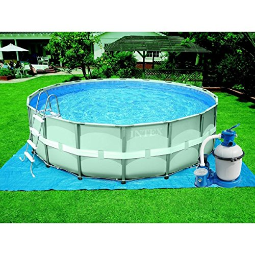 Intex 28324 Ultra Rondo I Frame Pool Set, Sandfilteranlage 4.542 l/h, Leiter, Abdeckplane, Bodenschutzplane, 488 x 122 cm
