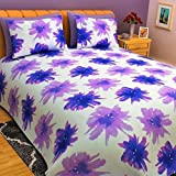 Bombay Dyeing Eternia 220 TC Cotton King Size Bedsheet with 2 Pillow Covers (Purple)