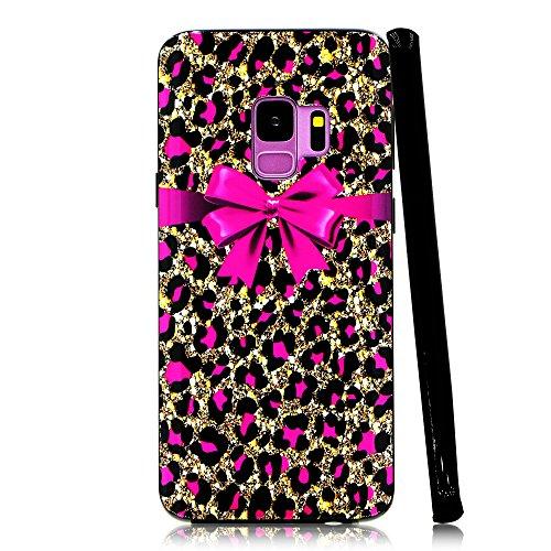 lartin Weicher Flexibler Jellybean Gel TPU Case für Samsung Galaxy S9, Pink Cheetah Print and Bowknot