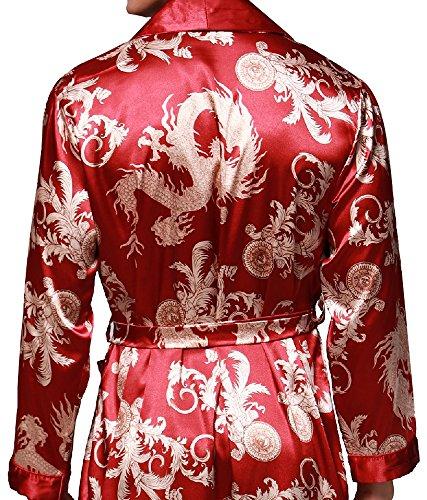 """Edith qi Herren 45""""inch Lange Klassische Satin Schlafanzüge Charmeuse Morgenmantel Homewear , Kimono Bademäntel Robe mit Gürtel, Multicolor -Muster, Größe für L-XXL Drachen Burgund-032R"""