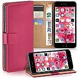 moex Apple iPhone 7/8 | Hülle Pink mit Karten-Fach 360° Book Klapp-Hülle Handytasche Kunst-Leder Handyhülle für iPhone 7/8 Case Flip Cover Schutzhülle Tasche