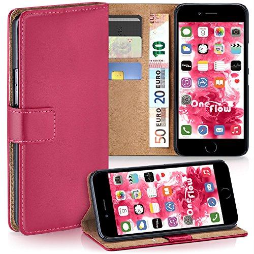 iPhone 7 Plus Hülle Dunkel-Rot mit Karten-Fach [OneFlow 360° Book Klapp-Hülle] Handytasche Kunst-Leder Handyhülle für iPhone 7 + Plus Case Flip Cover Schutzhülle Tasche BERRY-FUCHSIA