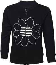 Tales & Stories Black Cotton Printed Crew Neck Sweatshirt for Girls