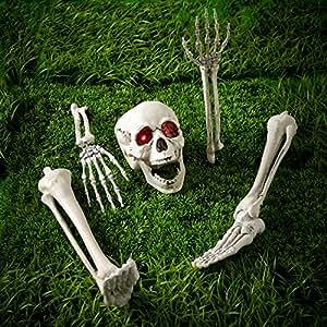 Skelett Teile Totenschädel mit leuchtenden Augen Halloween Deko Batteriebetrieb