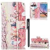 Galaxy S6 Hülle,BtDuck Tasche Brieftasche Handyhülle Magnetverschluss Flip Cover Schutzhülle Kompatibel mit Samsung Galaxy S6 Cover Slim Brieftasche Weihnachtsgeschenke für Frauen Mädchen Katze