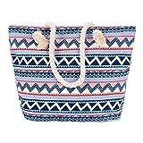 VANCOO Strandtasche Shopper Damen Aufdruck Muster Geometrie Groß XL mit Reißverschluss Blau