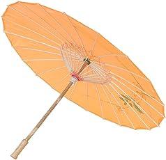 Generic Handmade Chinese Cloth Floral Umbrella Wedding Dance Props - orange