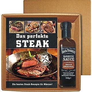 AV Andrea Verlag Das perfekte Steak im Geschenke Set groß stabil hochwertig mit original Jack Daniels BBQ Sauce oder Grillzange mit Flaschenöffner (Das perfekte Steak mit BBQ Sauce 22522)
