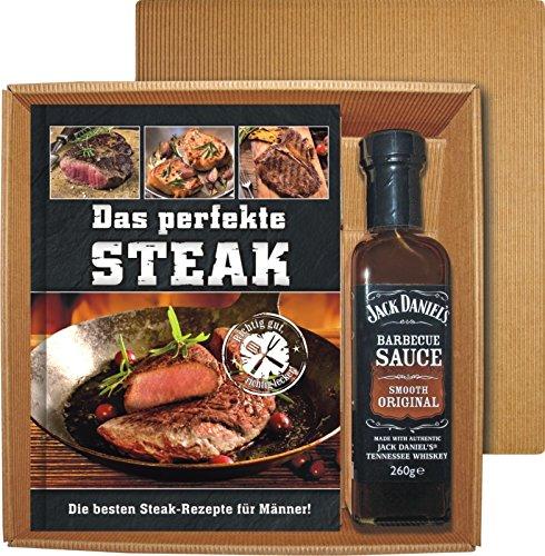 61A4C9yIStL - AV Andrea Verlag Das perfekte Steak im Geschenke Set groß stabil hochwertig mit original Jack Daniels BBQ Sauce oder Grillzange mit Flaschenöffner (Das perfekte Steak mit BBQ Sauce 22522)