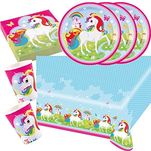 37-parts-Ensemble-de-fte-Licorne-Amscan-Licorne-Serviettes-De-Table-Plaque-Tasses-Nappe-de-table-pour-8-Enfants