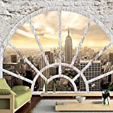 murando - Fototapete Fenster nach New York 300x210 cm - Vlies Tapete - Moderne Wanddeko - Design Tapete - Wandtapete - Wand Dekoration - City Stady New York Fenster d-A-0043-a-b