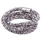 Morella Damen Strass Glitzer Wickelarmband oder Halskette mit Magnetverschluss grau weiß