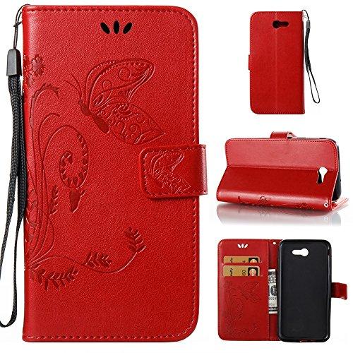 EKINHUI Case Cover Solid Color Faux Leder Bookstyle Brieftasche Stand Case mit geprägten Flower & Lanyard & Card Slots für Samsung Galaxy J7 2017 American Edition ( Color : Gray ) Red
