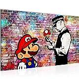 Bild Mario and Cop Banksy Ziegel Mauer Wandbild Vlies - Leinwand Bilder XXL Format Wandbilder Wohnzimmer Wohnung Deko Kunstdrucke Bunt 1 Teilig - MADE IN GERMANY - Fertig zum Aufhängen 303014c