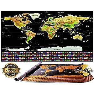 Aventour Mapa Mundi Para Rascar | 800x600mm Mural Grande Del Mundo XXL | Poster Mundial Con Países, Ciudades y Banderas | Mapa Decorativo, Educativo Para Viajeros, Exploradores y Coleccionistas