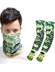 Moolecole Multifuncional Bufanda Licra Hielo Seda Protector Solar Brazo Juegos Se Toallas Mangas Combinación Verde