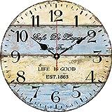 Yung Jo Reloj de pared decorativo de madera, diseño vintage rústico de la Toscana de 30,48 cm, diseño de ruta 66