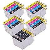 PerfectPrint Compatible Cartouche d'Encre de remplacement pour EPSON STYLUS S22SX-125130420W 425W 445W 230235W 445W 435W 430W 438L T1285(Noir/cyan/magenta/jaune, 14-pack)