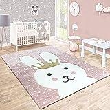 Kinderteppich Kinderzimmer Konturenschnitt Gepunktet Hase Krone Pastell Rosa, Grösse:80x150 cm