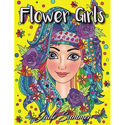 Flower Girls: An Adult Coloring Book with Beautiful Women, Floral