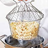 #10: Styleys Chef Basket 12 in 1 Kitchen Tool for Cooking Deep Fry Boiling Steaming Poaching Blanching Cooking Colander Straining Rinsing Draining Storing Solid Steel Dishwasher Safe Folds Flat for Easy Storage