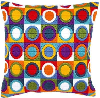 Vervaco Circles Long Stitch Cushion, Multi-Colour produced by Vervaco - quick delivery from UK.