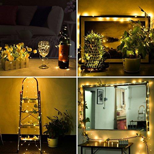 Stringa Fata Luce, SOLMORE String Luce 5M 50LED Luce di Natale Luci Della Stringa per la Decorazione Casa Matrimonio Natale Partito Silver Filo Della Lampada Bianco Caldo