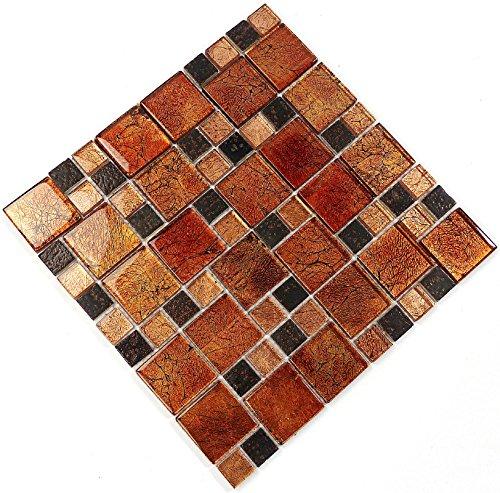 Fliesen Mosaik Mosaikfliesen Glas glänzend Kupfer Bad WC Küche 8mm Neu #S07 - Kupfer-mosaik-glas