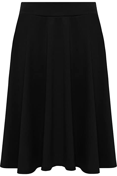 New Womens Plus Size Ladies Stretch Waist Plain Flared Midi Skater Skirt 14-28