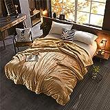 Simonshop flanella in pile extra morbido lusso coperta accogliente lana, coperta per letto o divano, Camel, 150 x 200 cm