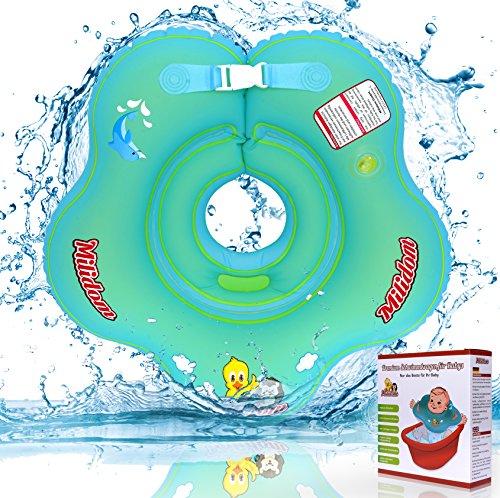 Milidom Baby Schwimmring Hals I Aufblasbare Schwimmhilfe für Baby I Schwimmring Baby - Mädchen und - Junge I Schwimmreifen Baby von 0-18 Monate