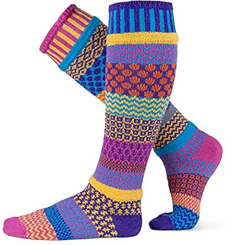 Solmate Socks - Odd or Mismatched Knee High Socks for Women or for Men; Made in USA with recycled cotton yarns; Carnation Small