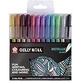 Sakura Set de Doce Rotuladores de Gel Trazado Fino de Acabado Metálico Gell Roll Multicolor