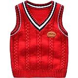 Chen Kids V-Neck Knitted Sweater Vest Boys Girls Sleeveless Jumper Knitwear Tank Tops