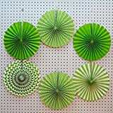 SET OF 6 Party Hanging Paper Fans Set, GREEN Round Pattern Paper Garlands Decoration for Birthday Wedding Events Accessories/peppa pig birthday decoration/girls birthday decoration(Green)