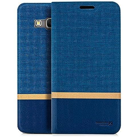 Coque Samsung Galaxy Grand Prime [zanasta Designs] Housse Etui Ultra Mince Case Flip Cover avec Poche intérieur Wallet Haute qualité Bleu