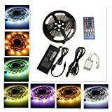 AUDEW 5m RGBWW (RGB+Warmweiß) IP20 300 5050 SMD LED Strip Lichtleiste Streifen mit 40 Tasten Fernbedienung +Netzteil mit EU Stecker