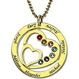 Nome famiglia Collana con cuore - Personalizzato inciso con ciondolo a forma di cuore personalizzato in argento sterling con