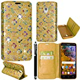 Vodafone Smart Turbo 7 Case, Kamal Star® PU Leather Magnetic Flip Case Cover + Stylus (Flower Gold Diamond Book)