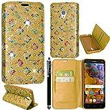 Vodafone Smart Turbo 7 Case, Kamal Star® PU Leather Magnetic Flip Case Cover + Stylus (Flower Gold Diamond Book)