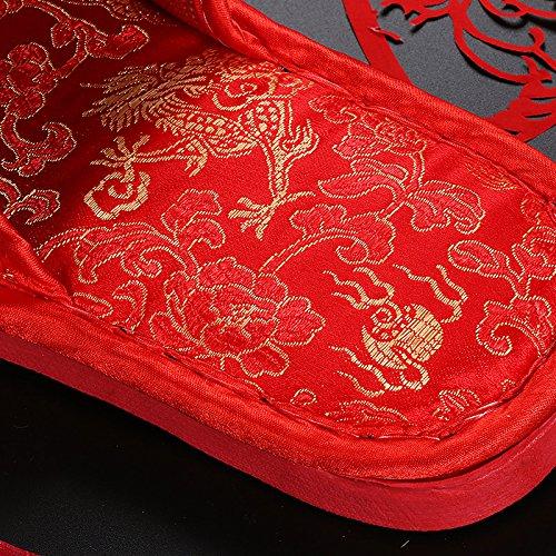 TT&HUNLI Ciabatte da sposa / ciabattine rosse da sposa / ciabattine interne da casa coppia in cotone male
