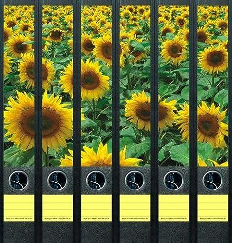 File Art - Etiquettes à design pour 6 classeurs A4 dos mince - Motif Sunflower Field