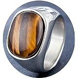 Daesar Anello in Acciaio Uomo Anelli con Incisione Pietra Opale Marrone Ovale Oro/Argento