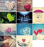 20 Liebes-postkarten im Set (10 Motive mit jeweils 2 Postkarten), Love-cards, Liebe, Herzen, Hochzeit (Set 2)