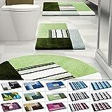 Design Badematte   rutschfester Badvorleger   viele Größen   zum Set kombinierbar   Öko-Tex 100 zertifiziert   viele Muster zur Auswahl   Quadrate - Grün (70 x 120 cm)