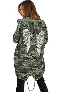Women Sequin Angel Wings Back Over-sized Hoodie Sweatshirt Jacket Coat Cardigan