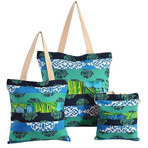 Multipurpose shopping bag Applique Patchwork, avec fermeture à glissière fermeture et de conception correctifs 3 pcs Set Taille - 25 cm x25 cm cmx 2,5