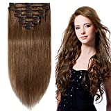20cm-55cm Extension Clip Castano 100% Remy Human Hair Capelli Veri Tessitura con Clips Full Head Parrucca Vera (20cm-65g, #6 Castano)